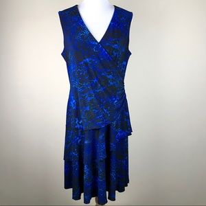 Dress Barn Dresses - Luxe by Carmen Valvo Blue Black Animal Print Dress
